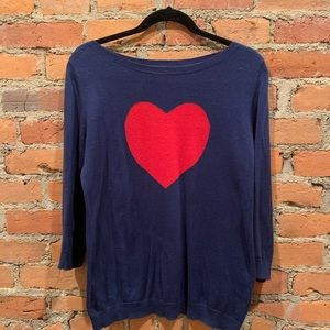 Old Navy Heart Sweater Navy 3/4 Sleeves